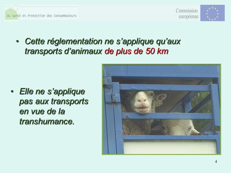 4 Cette réglementation ne sapplique quaux transports danimaux de plus de 50 kmCette réglementation ne sapplique quaux transports danimaux de plus de 50 km Elle ne sapplique pas aux transports en vue de la transhumance.Elle ne sapplique pas aux transports en vue de la transhumance.