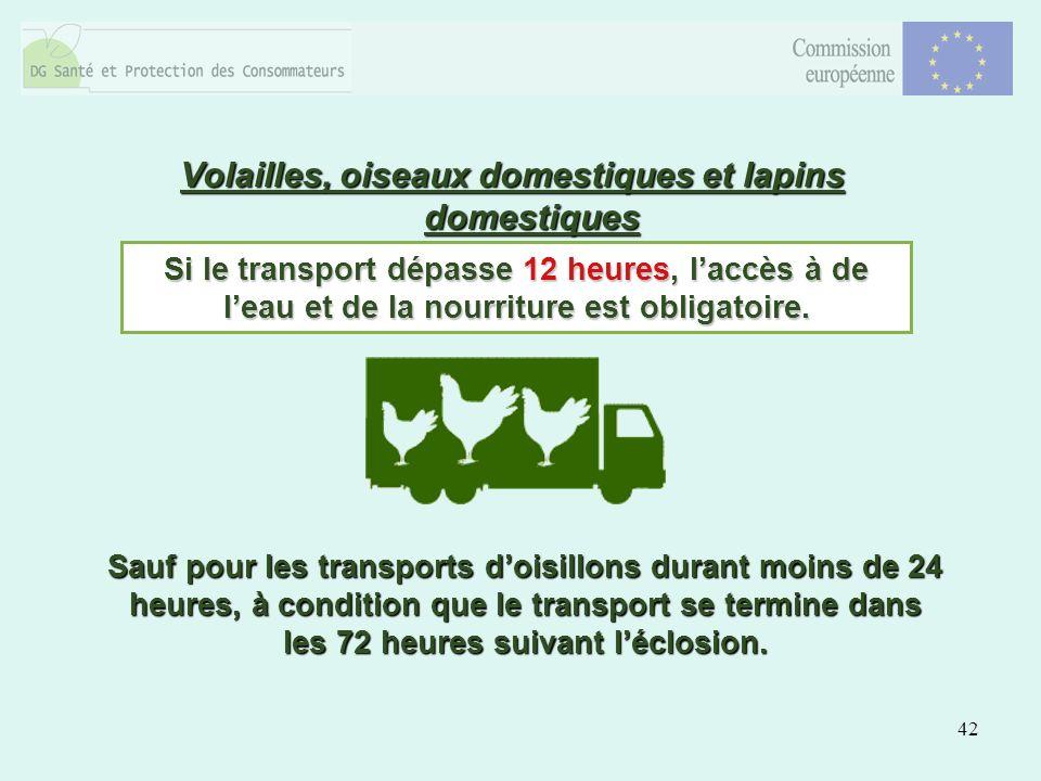 42 Volailles, oiseaux domestiques et lapins domestiques Si le transport dépasse 12 heures, laccès à de leau et de la nourriture est obligatoire.