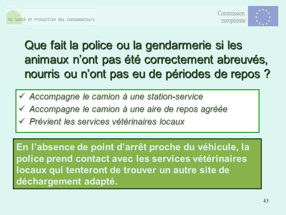 43 Que fait la police ou la gendarmerie si les animaux nont pas été correctement abreuvés, nourris ou nont pas eu de périodes de repos ? Accompagne le