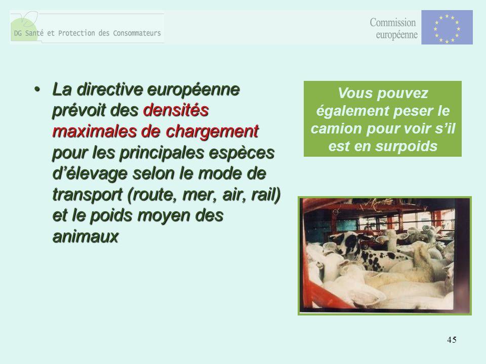 45 La directive européenne prévoit des densités maximales de chargement pour les principales espèces délevage selon le mode de transport (route, mer,