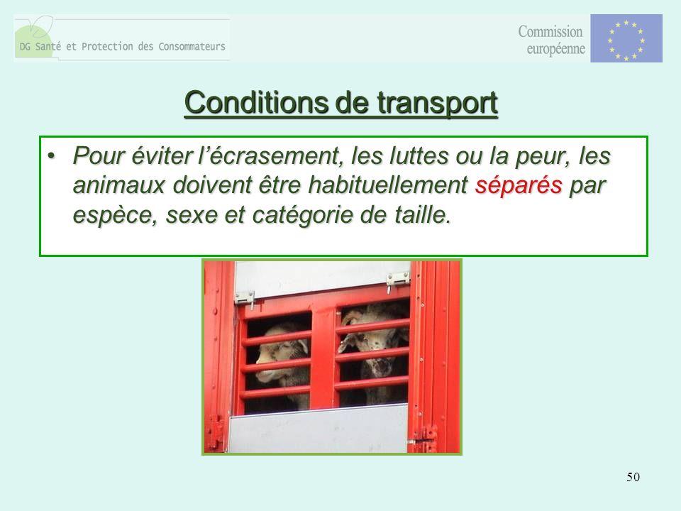 50 Conditions de transport Pour éviter lécrasement, les luttes ou la peur, les animaux doivent être habituellement séparés par espèce, sexe et catégor