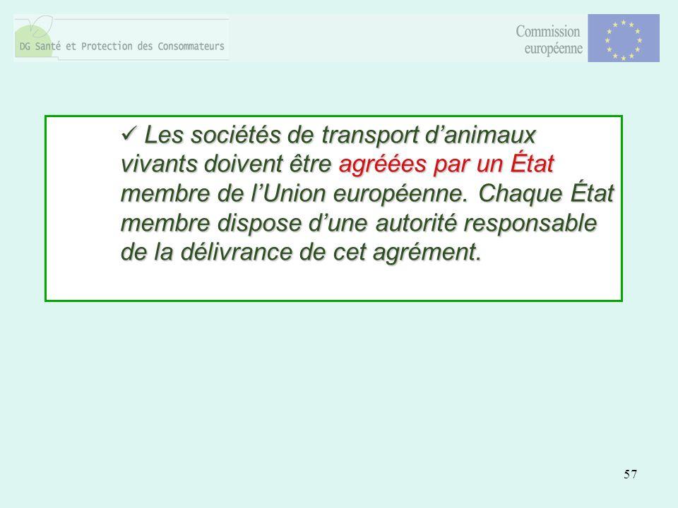 57 Les sociétés de transport danimaux vivants doivent être agréées par un État membre de lUnion européenne. Chaque État membre dispose dune autorité r