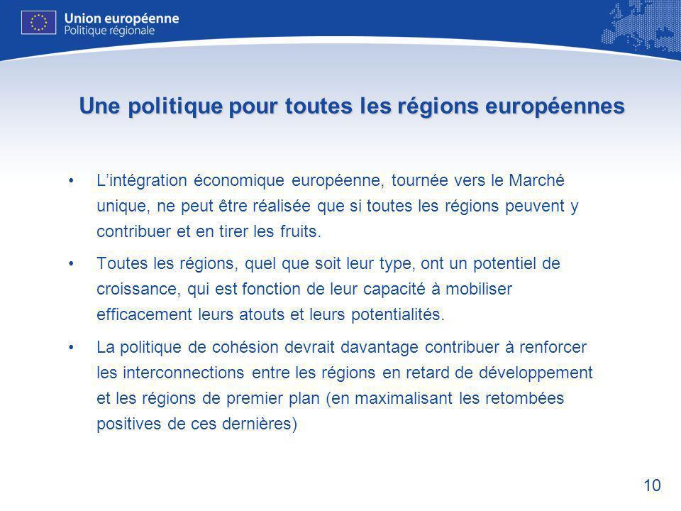 10 Une politique pour toutes les régions européennes Lintégration économique européenne, tournée vers le Marché unique, ne peut être réalisée que si toutes les régions peuvent y contribuer et en tirer les fruits.