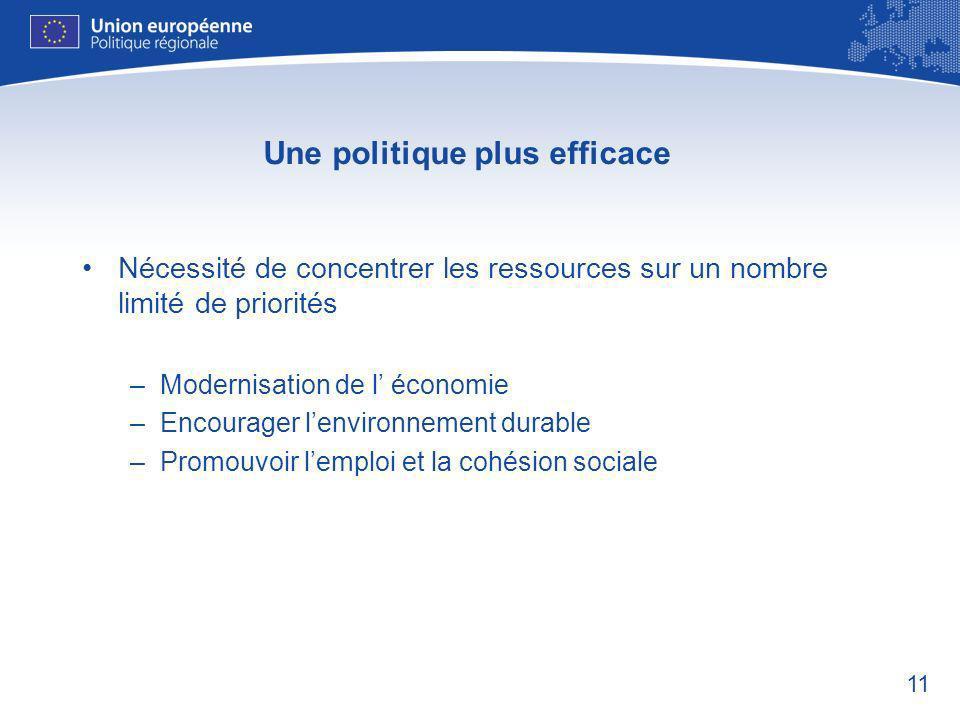 11 Une politique plus efficace Nécessité de concentrer les ressources sur un nombre limité de priorités –Modernisation de l économie –Encourager lenvironnement durable –Promouvoir lemploi et la cohésion sociale