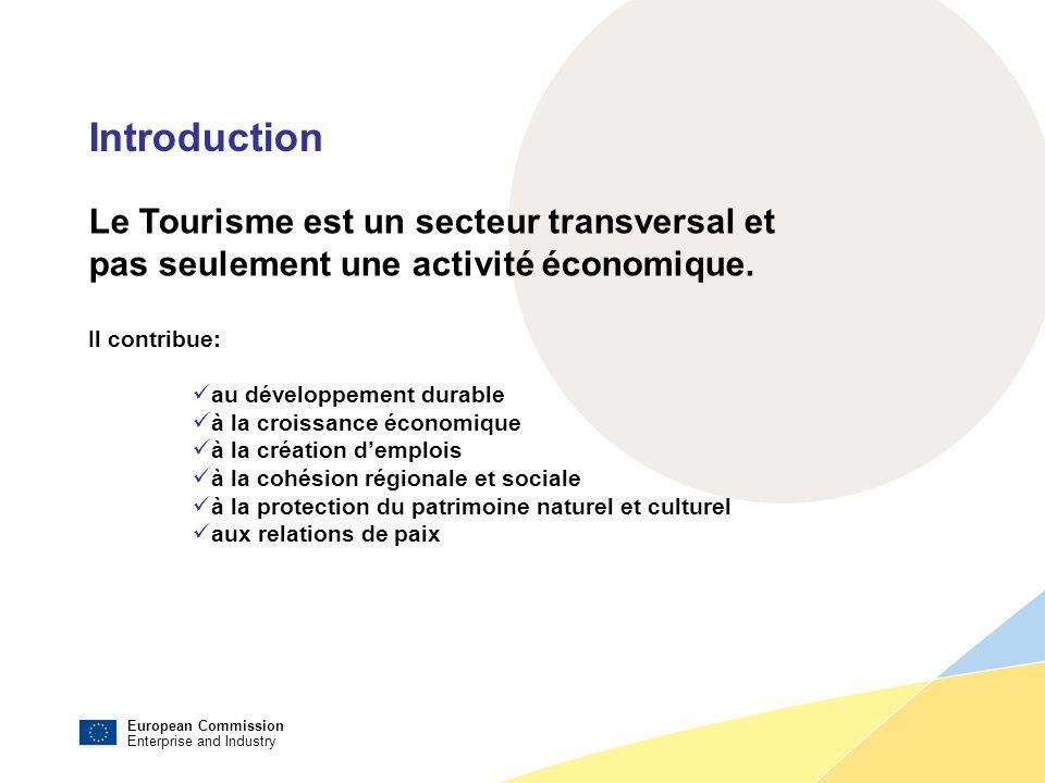 European Commission Enterprise and Industry Introduction Le Tourisme est un secteur transversal et pas seulement une activité économique.