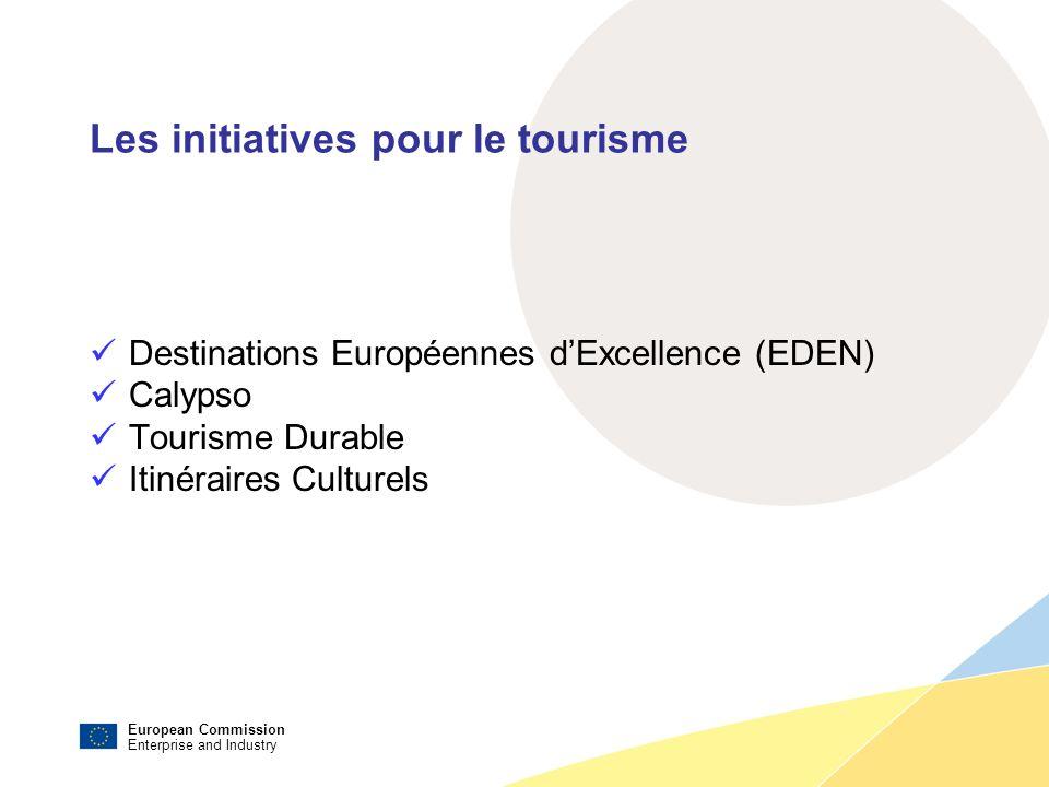 European Commission Enterprise and Industry Les initiatives pour le tourisme Destinations Européennes dExcellence (EDEN) Calypso Tourisme Durable Itinéraires Culturels