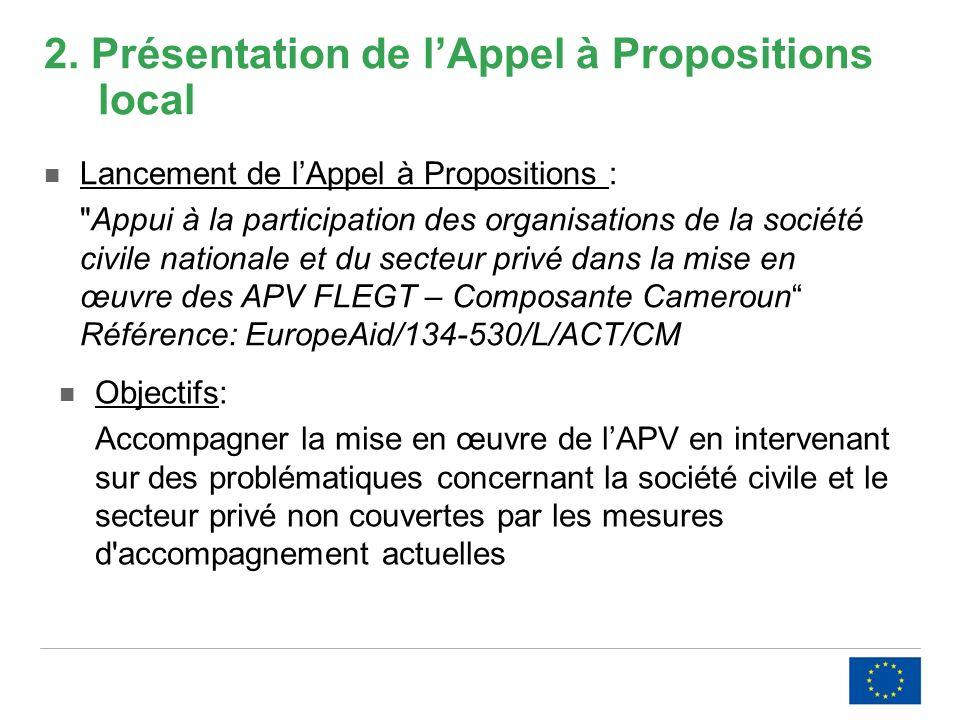 2. Présentation de lAppel à Propositions local Lancement de lAppel à Propositions :
