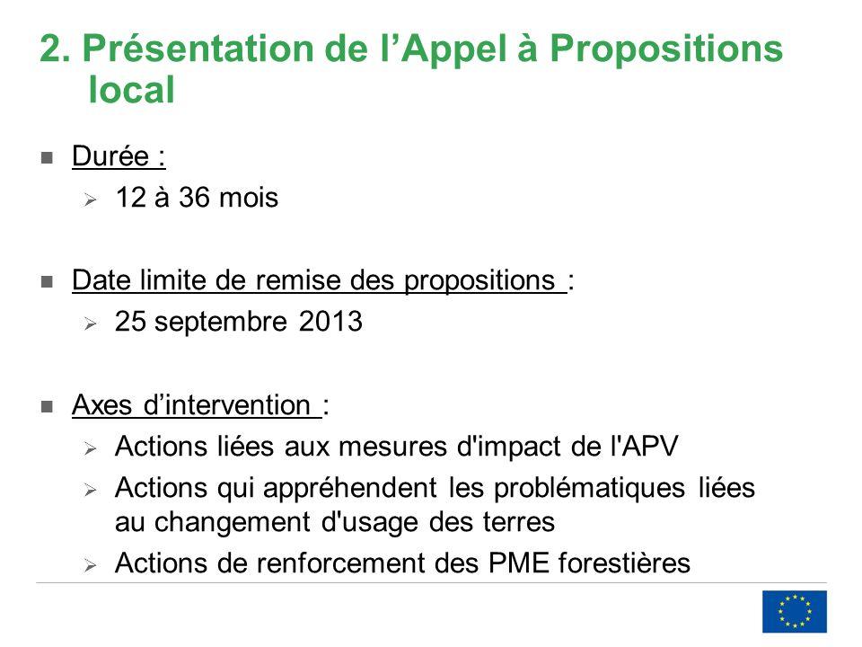 2. Présentation de lAppel à Propositions local Durée : 12 à 36 mois Date limite de remise des propositions : 25 septembre 2013 Axes dintervention : Ac