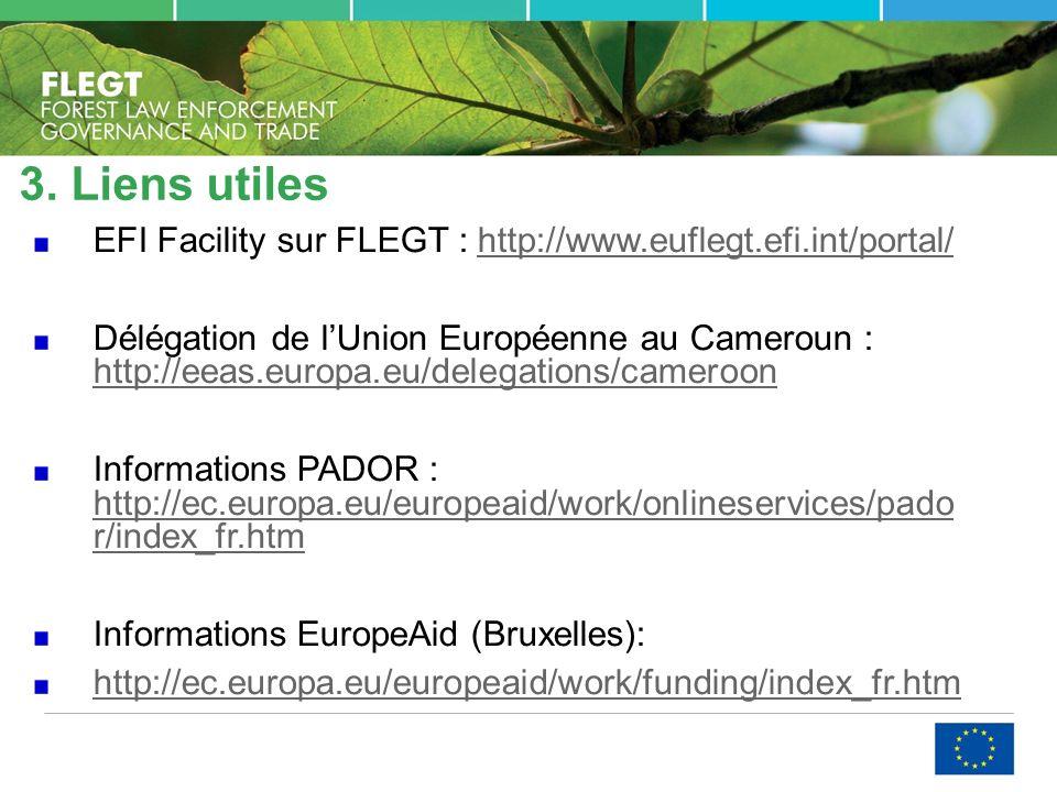3. Liens utiles EFI Facility sur FLEGT : http://www.euflegt.efi.int/portal/http://www.euflegt.efi.int/portal/ Délégation de lUnion Européenne au Camer