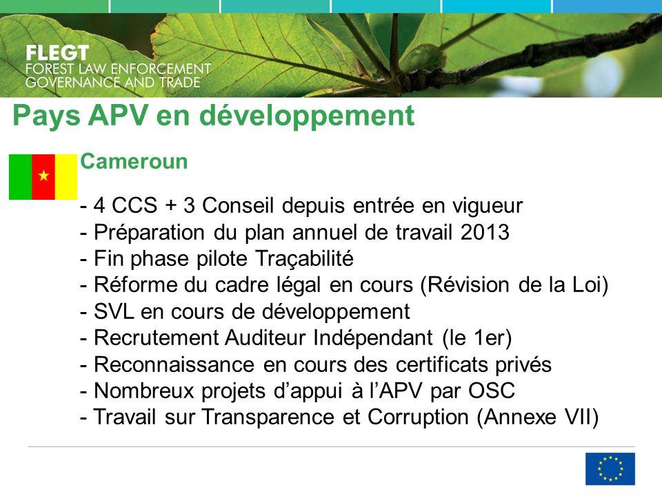 Pays APV en développement Cameroun - 4 CCS + 3 Conseil depuis entrée en vigueur - Préparation du plan annuel de travail 2013 - Fin phase pilote Traçabilité - Réforme du cadre légal en cours (Révision de la Loi) - SVL en cours de développement - Recrutement Auditeur Indépendant (le 1er) - Reconnaissance en cours des certificats privés - Nombreux projets dappui à lAPV par OSC - Travail sur Transparence et Corruption (Annexe VII)