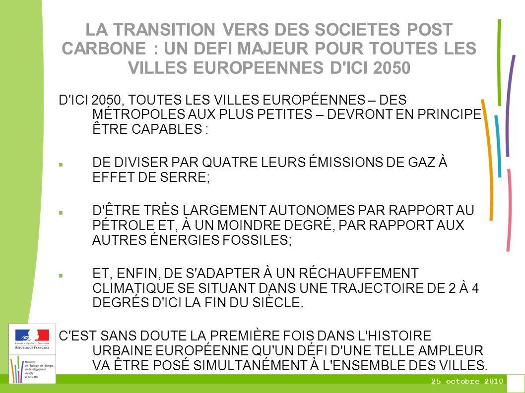 25 octobre 2010 LA TRANSITION VERS DES SOCIETES POST CARBONE : UN DEFI MAJEUR POUR TOUTES LES VILLES EUROPEENNES D ICI 2050 D ICI 2050, TOUTES LES VILLES EUROPÉENNES – DES MÉTROPOLES AUX PLUS PETITES – DEVRONT EN PRINCIPE ÊTRE CAPABLES : DE DIVISER PAR QUATRE LEURS ÉMISSIONS DE GAZ À EFFET DE SERRE; D ÊTRE TRÈS LARGEMENT AUTONOMES PAR RAPPORT AU PÉTROLE ET, À UN MOINDRE DEGRÉ, PAR RAPPORT AUX AUTRES ÉNERGIES FOSSILES; ET, ENFIN, DE S ADAPTER À UN RÉCHAUFFEMENT CLIMATIQUE SE SITUANT DANS UNE TRAJECTOIRE DE 2 À 4 DEGRÉS D ICI LA FIN DU SIÈCLE.