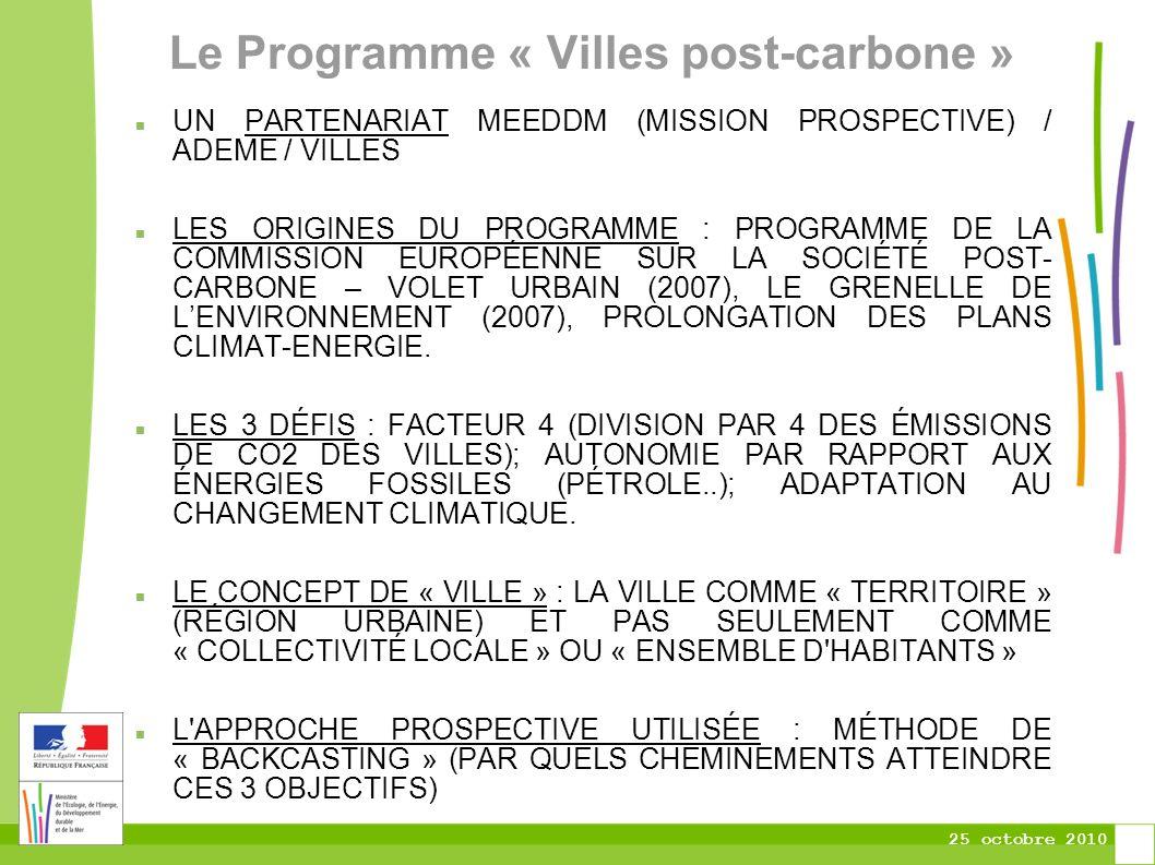 25 octobre 2010 Le Programme « Villes post-carbone » UN PARTENARIAT MEEDDM (MISSION PROSPECTIVE) / ADEME / VILLES LES ORIGINES DU PROGRAMME : PROGRAMME DE LA COMMISSION EUROPÉENNE SUR LA SOCIÉTÉ POST- CARBONE – VOLET URBAIN (2007), LE GRENELLE DE LENVIRONNEMENT (2007), PROLONGATION DES PLANS CLIMAT-ENERGIE.