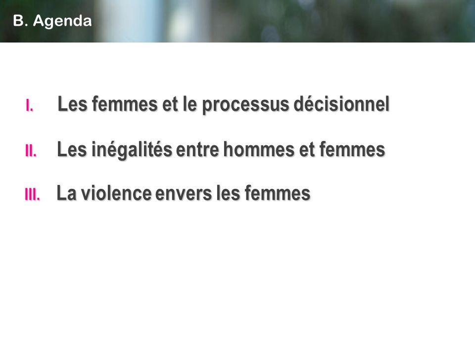 II. Les inégalités entre hommes et femmes I. Les femmes et le processus décisionnel III. La violence envers les femmes