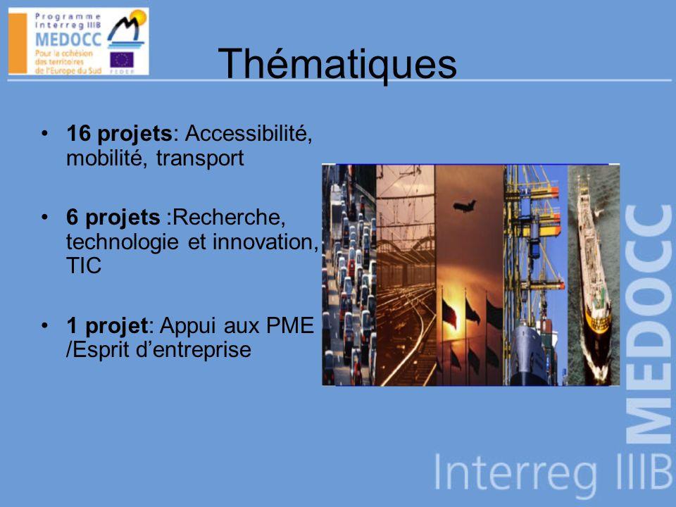Thématiques 16 projets: Accessibilité, mobilité, transport 6 projets :Recherche, technologie et innovation, TIC 1 projet: Appui aux PME /Esprit dentreprise