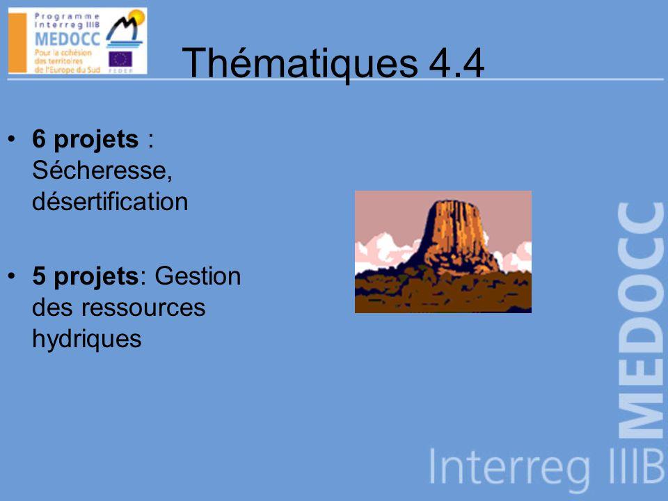 Thématiques 4.4 6 projets : Sécheresse, désertification 5 projets: Gestion des ressources hydriques
