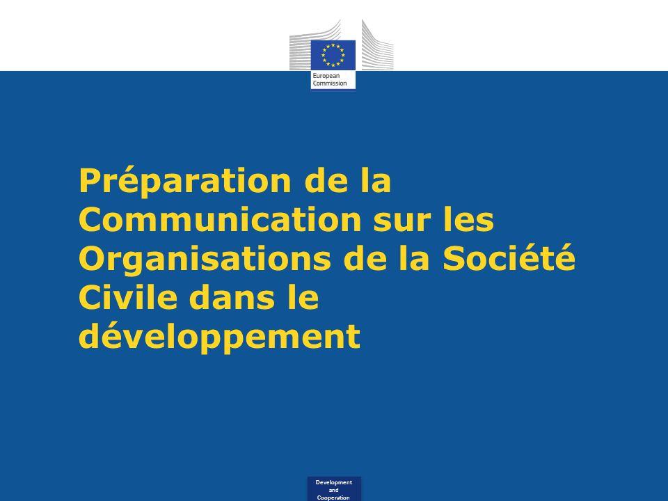 Development and Cooperation Préparation de la Communication sur les Organisations de la Société Civile dans le développement