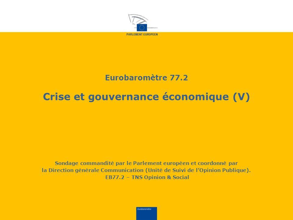 Eurobaromètre 77.2 Crise et gouvernance économique (V) Sondage commandité par le Parlement européen et coordonné par la Direction générale Communication (Unité de Suivi de lOpinion Publique).