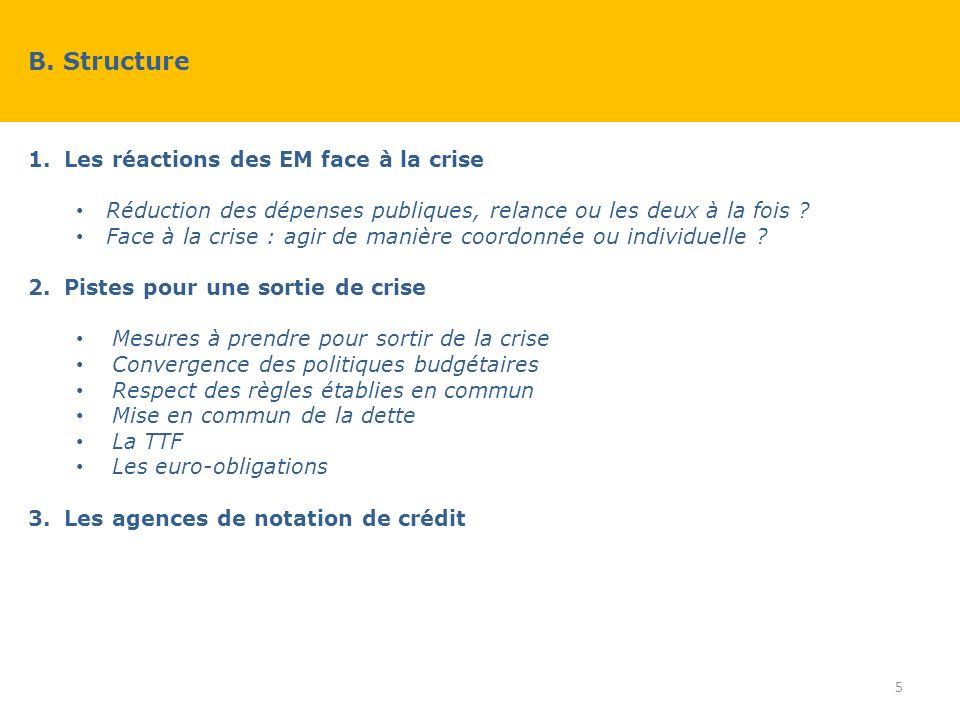 1.Les réactions des EM face à la crise Réduction des dépenses publiques, relance ou les deux à la fois .