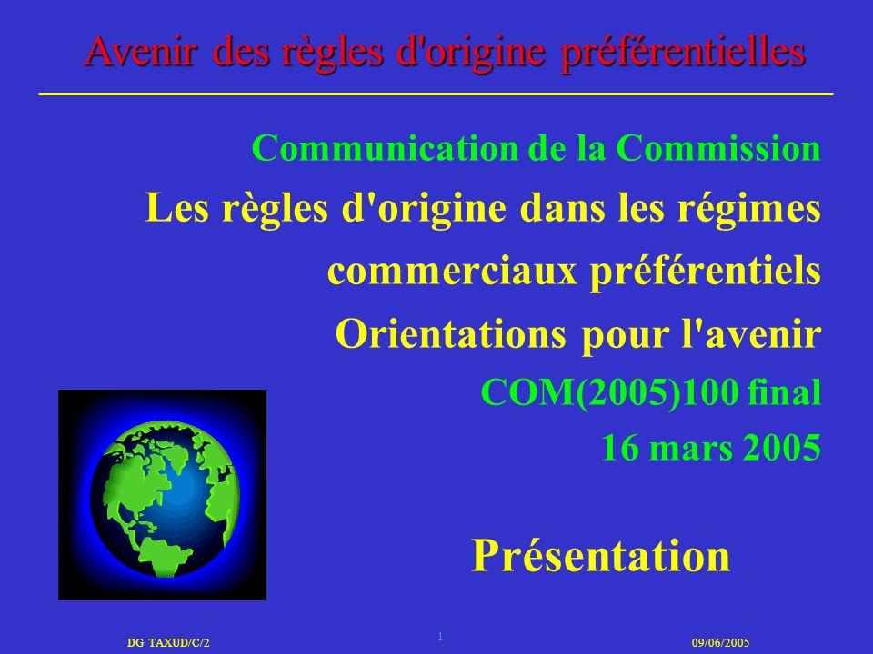 1 DG TAXUD/C/209/06/2005 Avenir des règles d'origine préférentielles Communication de la Commission Les règles d'origine dans les régimes commerciaux