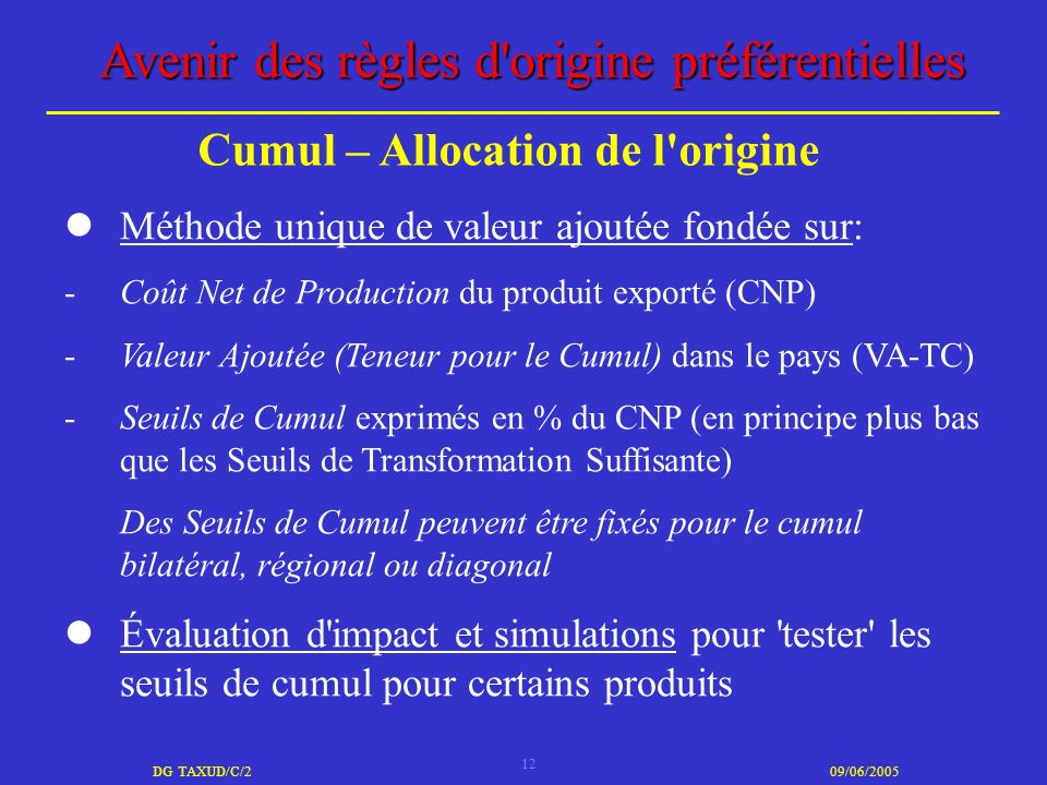 12 DG TAXUD/C/209/06/2005 Avenir des règles d'origine préférentielles Méthode unique de valeur ajoutée fondée sur: -Coût Net de Production du produit