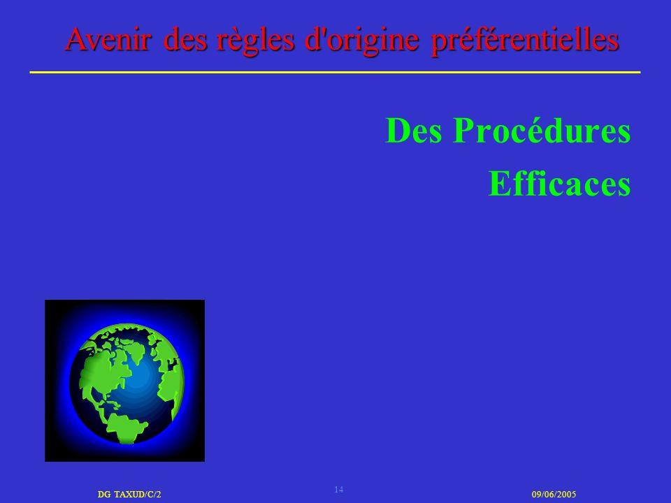 14 DG TAXUD/C/209/06/2005 Avenir des règles d'origine préférentielles Des Procédures Efficaces