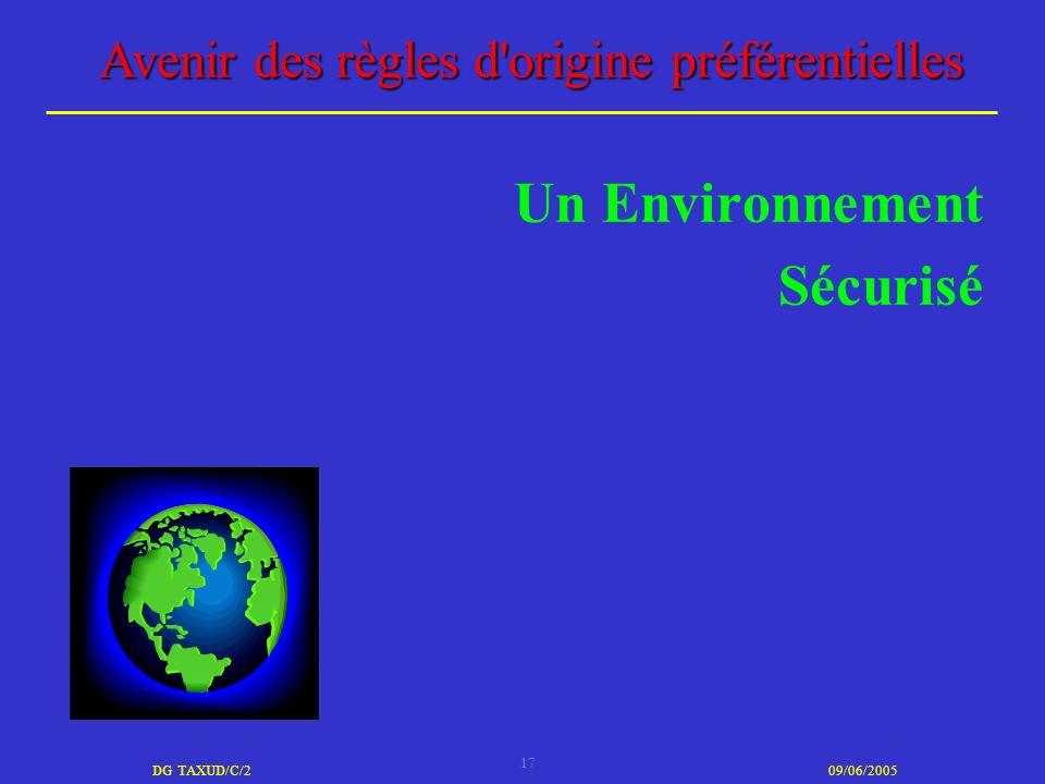 17 DG TAXUD/C/209/06/2005 Avenir des règles d'origine préférentielles Un Environnement Sécurisé