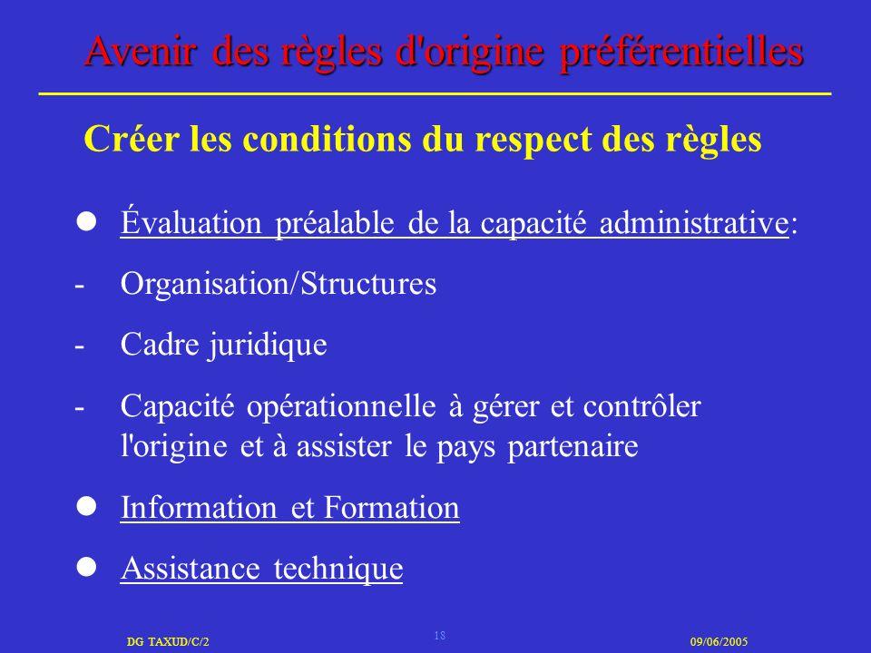 18 DG TAXUD/C/209/06/2005 Avenir des règles d'origine préférentielles Évaluation préalable de la capacité administrative: -Organisation/Structures -Ca