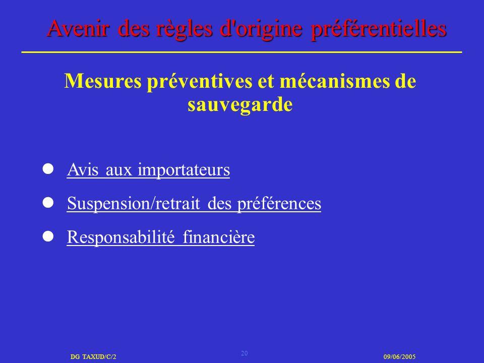 20 DG TAXUD/C/209/06/2005 Avenir des règles d'origine préférentielles Avis aux importateurs Suspension/retrait des préférences Responsabilité financiè