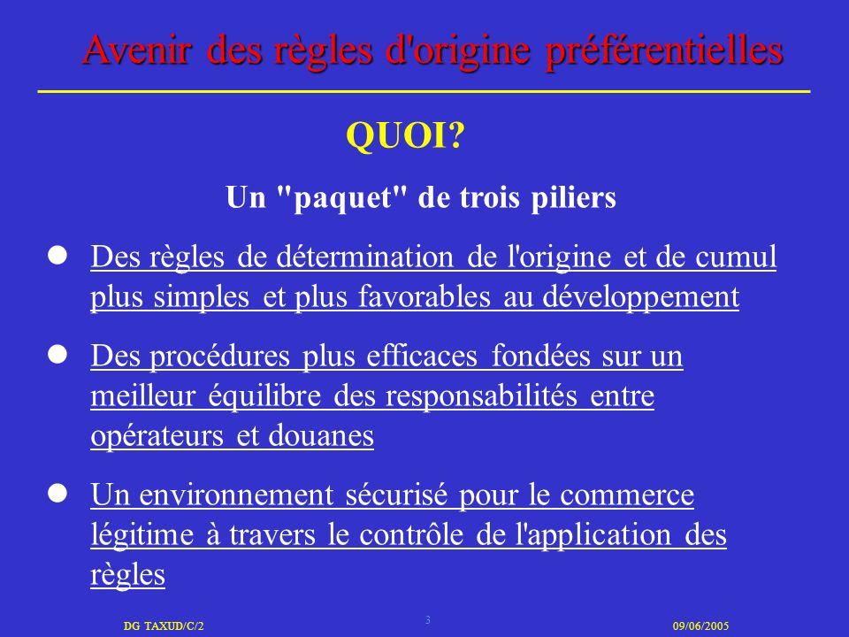 3 DG TAXUD/C/209/06/2005 Avenir des règles d'origine préférentielles Un