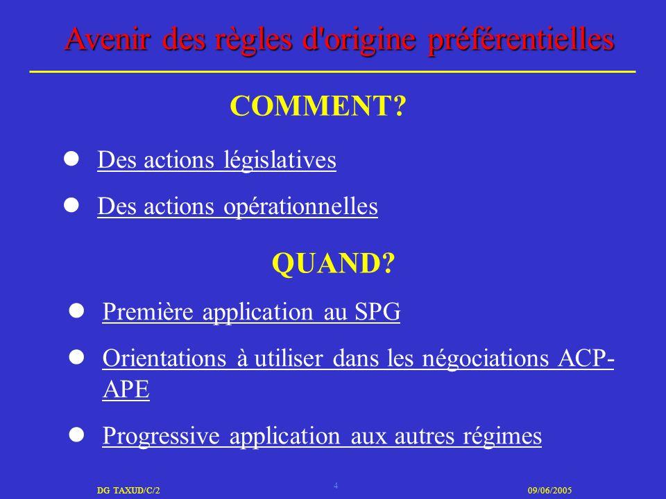 4 DG TAXUD/C/209/06/2005 Avenir des règles d'origine préférentielles Des actions législatives Des actions opérationnelles COMMENT? QUAND? Première app