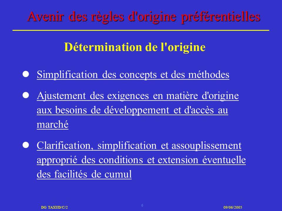6 DG TAXUD/C/209/06/2005 Avenir des règles d'origine préférentielles Simplification des concepts et des méthodes Ajustement des exigences en matière d