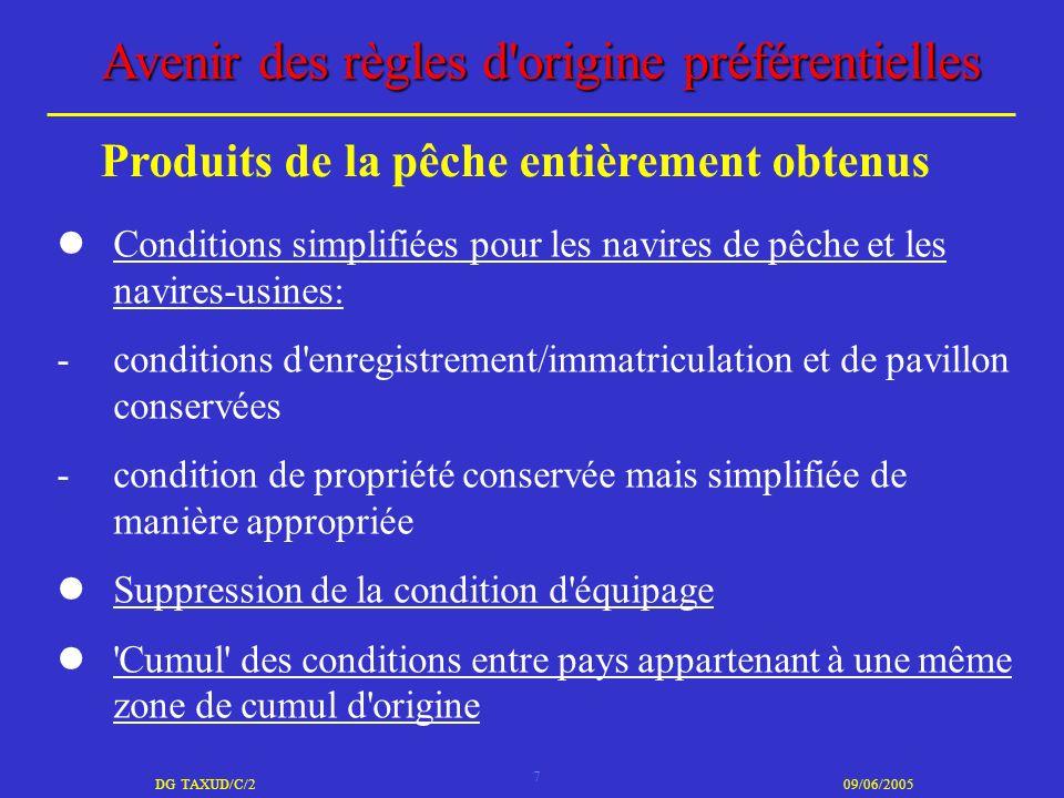 7 DG TAXUD/C/209/06/2005 Avenir des règles d'origine préférentielles Conditions simplifiées pour les navires de pêche et les navires-usines: -conditio