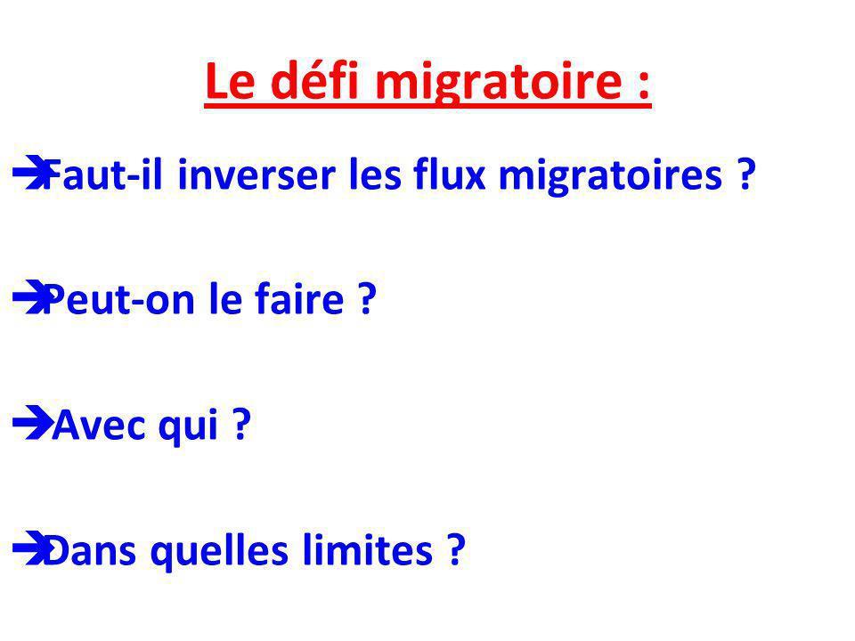 Le défi migratoire : Faut-il inverser les flux migratoires ? Peut-on le faire ? Avec qui ? Dans quelles limites ?