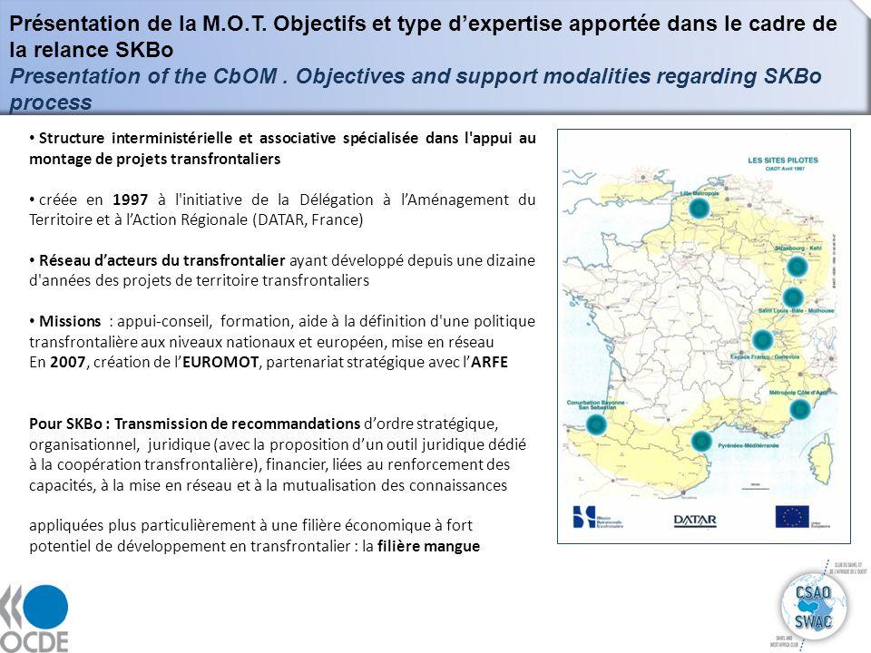 11 Présentation de la M.O.T. Objectifs et type dexpertise apportée dans le cadre de la relance SKBo Presentation of the CbOM. Objectives and support m