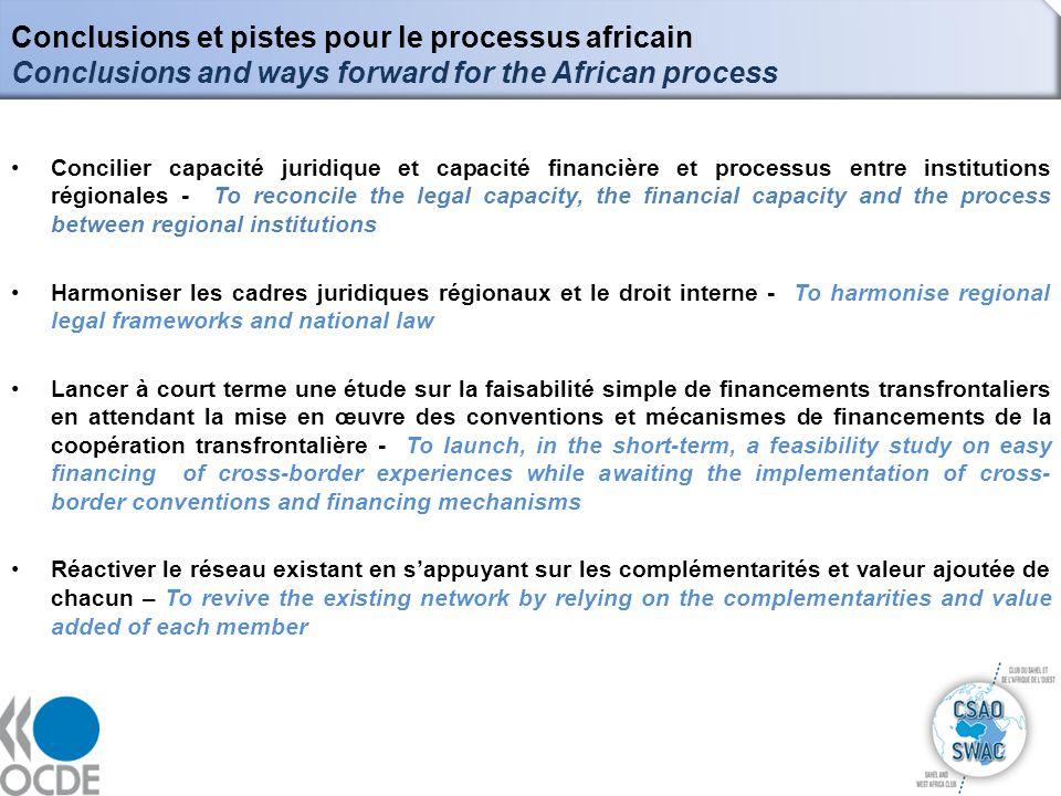 Conclusions et pistes pour le processus africain Conclusions and ways forward for the African process 14 Concilier capacité juridique et capacité fina