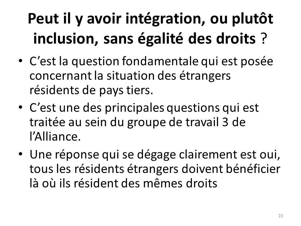 Peut il y avoir intégration, ou plutôt inclusion, sans égalité des droits .
