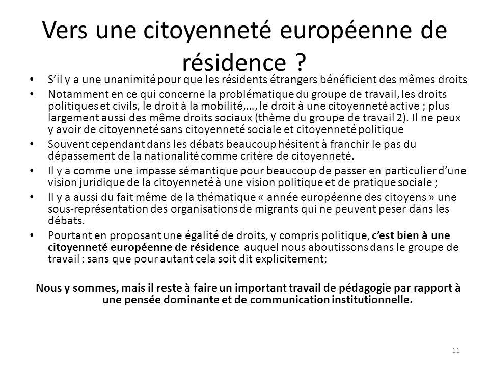 Vers une citoyenneté européenne de résidence .