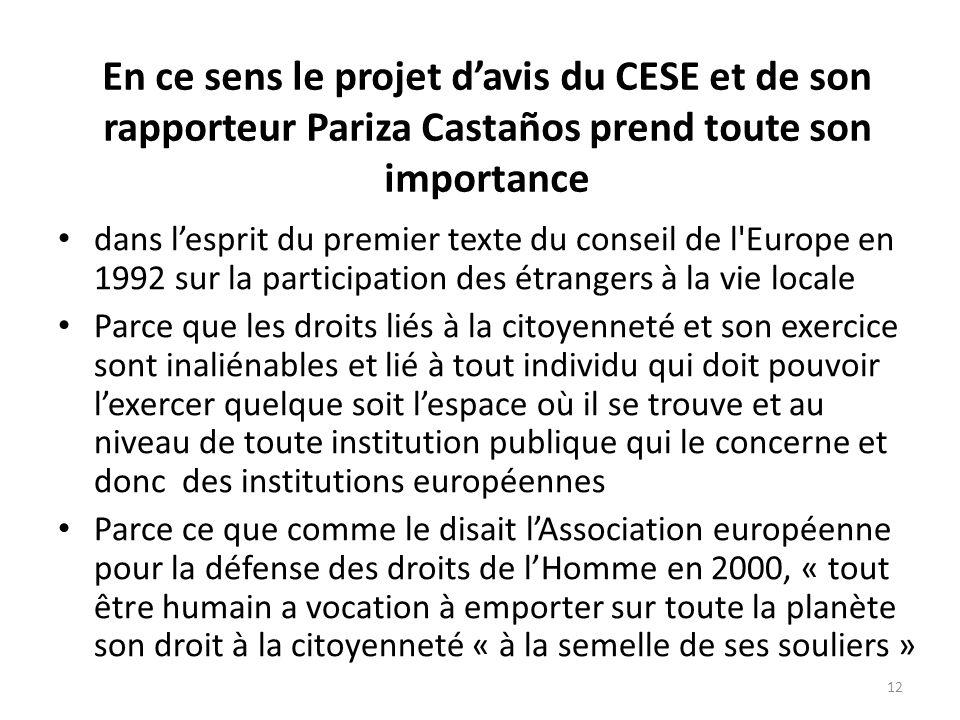 En ce sens le projet davis du CESE et de son rapporteur Pariza Castaños prend toute son importance dans lesprit du premier texte du conseil de l Europe en 1992 sur la participation des étrangers à la vie locale Parce que les droits liés à la citoyenneté et son exercice sont inaliénables et lié à tout individu qui doit pouvoir lexercer quelque soit lespace où il se trouve et au niveau de toute institution publique qui le concerne et donc des institutions européennes Parce ce que comme le disait lAssociation européenne pour la défense des droits de lHomme en 2000, « tout être humain a vocation à emporter sur toute la planète son droit à la citoyenneté « à la semelle de ses souliers » 12