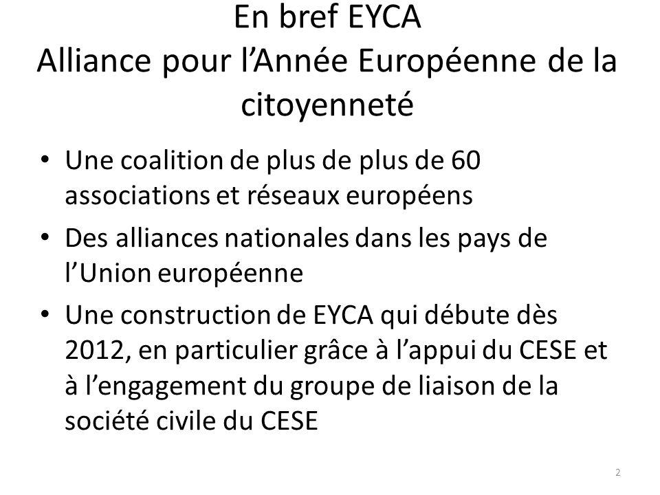 En bref EYCA Alliance pour lAnnée Européenne de la citoyenneté Une coalition de plus de plus de 60 associations et réseaux européens Des alliances nationales dans les pays de lUnion européenne Une construction de EYCA qui débute dès 2012, en particulier grâce à lappui du CESE et à lengagement du groupe de liaison de la société civile du CESE 2