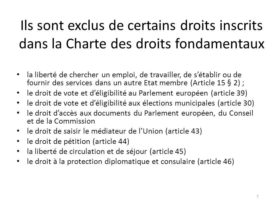 Ils sont exclus de certains droits inscrits dans la Charte des droits fondamentaux la liberté de chercher un emploi, de travailler, de sétablir ou de fournir des services dans un autre Etat membre (Article 15 § 2) ; le droit de vote et déligibilité au Parlement européen (article 39) le droit de vote et déligibilité aux élections municipales (article 30) le droit daccès aux documents du Parlement européen, du Conseil et de la Commission le droit de saisir le médiateur de lUnion (article 43) le droit de pétition (article 44) la liberté de circulation et de séjour (article 45) le droit à la protection diplomatique et consulaire (article 46) 7