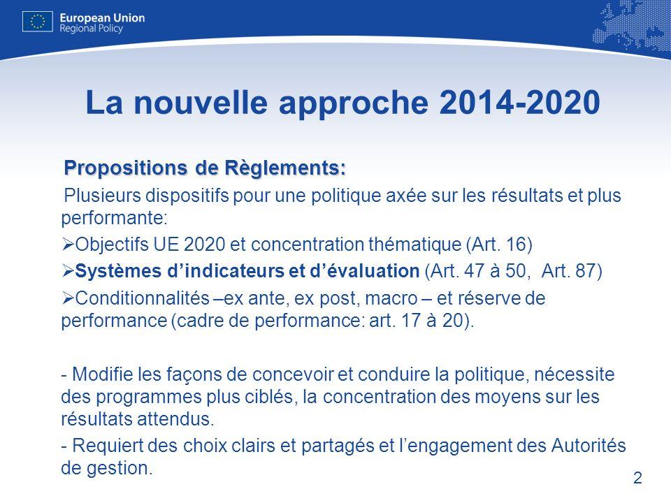 2 La nouvelle approche 2014-2020 Propositions de Règlements: Plusieurs dispositifs pour une politique axée sur les résultats et plus performante: Objectifs UE 2020 et concentration thématique (Art.