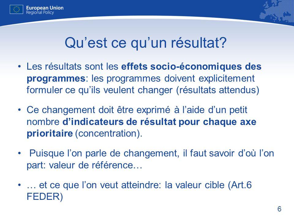 6 Les résultats sont les effets socio-économiques des programmes: les programmes doivent explicitement formuler ce quils veulent changer (résultats attendus) Ce changement doit être exprimé à laide dun petit nombre dindicateurs de résultat pour chaque axe prioritaire (concentration).