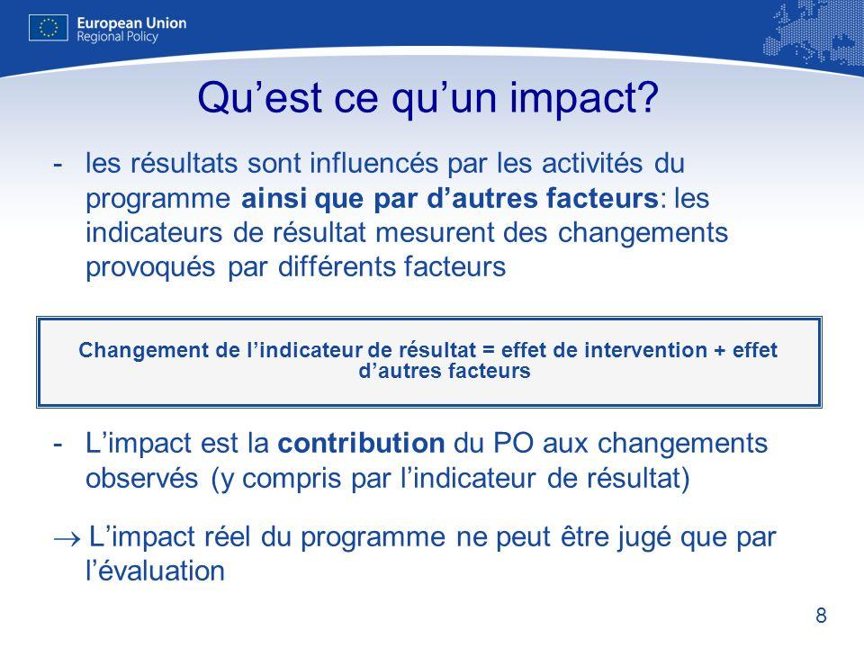 8 -les résultats sont influencés par les activités du programme ainsi que par dautres facteurs: les indicateurs de résultat mesurent des changements p