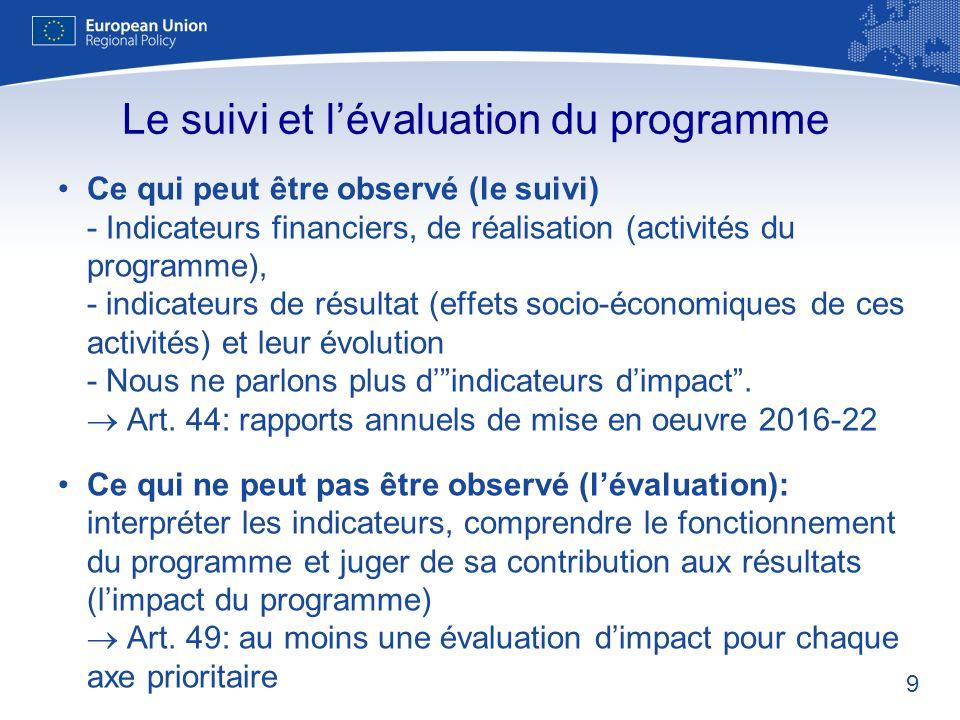 9 Ce qui peut être observé (le suivi) - Indicateurs financiers, de réalisation (activités du programme), - indicateurs de résultat (effets socio-écono