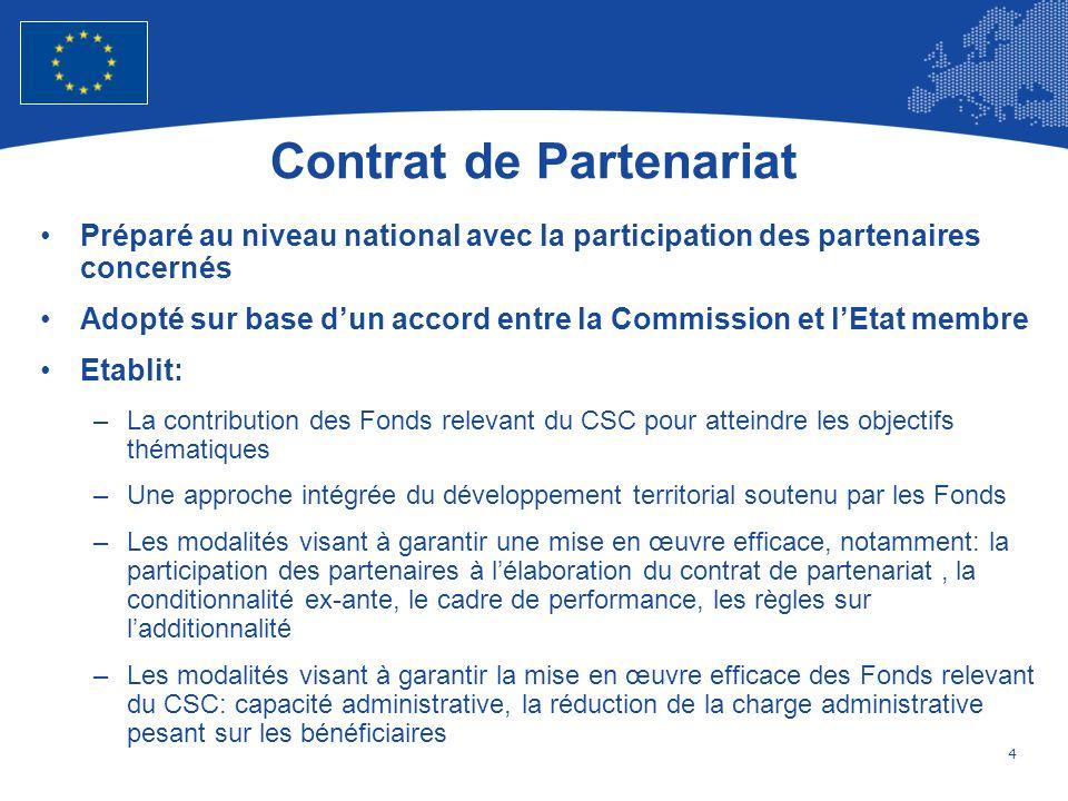 5 European Union Regional Policy – Employment, Social Affairs and Inclusion Adoption et Modification du Contrat de Partenariat La Commission évalue la cohérence du contrat de partenariat par rapport au présent règlement, au cadre stratégique commun, aux recommandations spécifiques à chaque pays au titre de larticle 121(2), du traité et aux recommandations du Conseil en vertu de larticle 148(4) du traité, en tenant compte des évaluations ex ante des programmes La Commission adopte, par voie dactes dexécution, une décision portant approbation du contrat de partenariat au plus tard six mois après la soumission de celui-ci par lÉtat membre Lorsquun État membre propose dapporter une modification au contrat de partenariat, la Commission procède à une évaluation, et le cas échéant, adopte par voie dactes dexécution une décision portant approbation de la modification