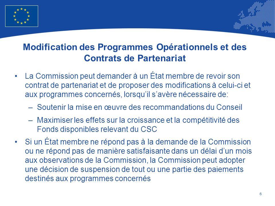 7 European Union Regional Policy – Employment, Social Affairs and Inclusion Élaboration des programmes Les Fonds relevant du CSC sont mis en œuvre à travers des programmes conformément au contrat de partenariat Les programmes sont rédigés par les États membres ou toute autorité désignée par eux, en collaboration avec les partenaires Les programmes sont soumis par les États membres simultanément au contrat de partenariat, à lexception des programmes relevant de la «Coopération territoriale européenne», qui sont soumis dans les six mois suivant lapprobation du cadre stratégique commun Tous les programmes sont accompagnés de lévaluation ex ante