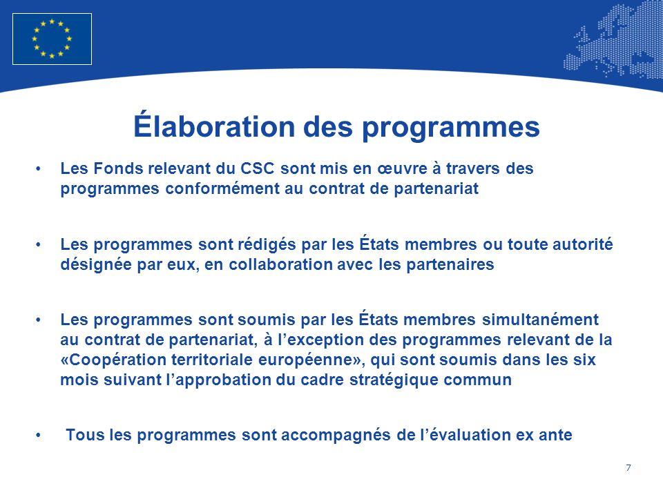 8 European Union Regional Policy – Employment, Social Affairs and Inclusion Adoption et Modification des Programmes Opérationnels La Commission évalue la cohérence des programmes au regard des règlements, de la contribution réelle des programmes à la réalisation des objectifs thématiques et des priorités de lUnion spécifiques à chaque Fonds relevant du CSC, du cadre stratégique commun, du contrat de partenariat, des recommandations spécifiques à chaque pays au titre de larticle 121(2) du traité et des recommandations du Conseil adoptées en vertu de larticle 148(4) du traité, en tenant compte de lévaluation ex ante La Commission adopte une décision portant approbation de chaque programme au plus tard six mois après sa soumission officielle par lÉtat membre ou les États membres Les demandes de modification de programmes introduites par un État membre sont dûment motivées et précisent en particulier leffet attendu des modifications du programme sur la réalisation de la stratégie 2020 de lUnion et des objectifs spécifiques définis dans le programme, compte tenu du cadre stratégique commun et du contrat de partenariat.