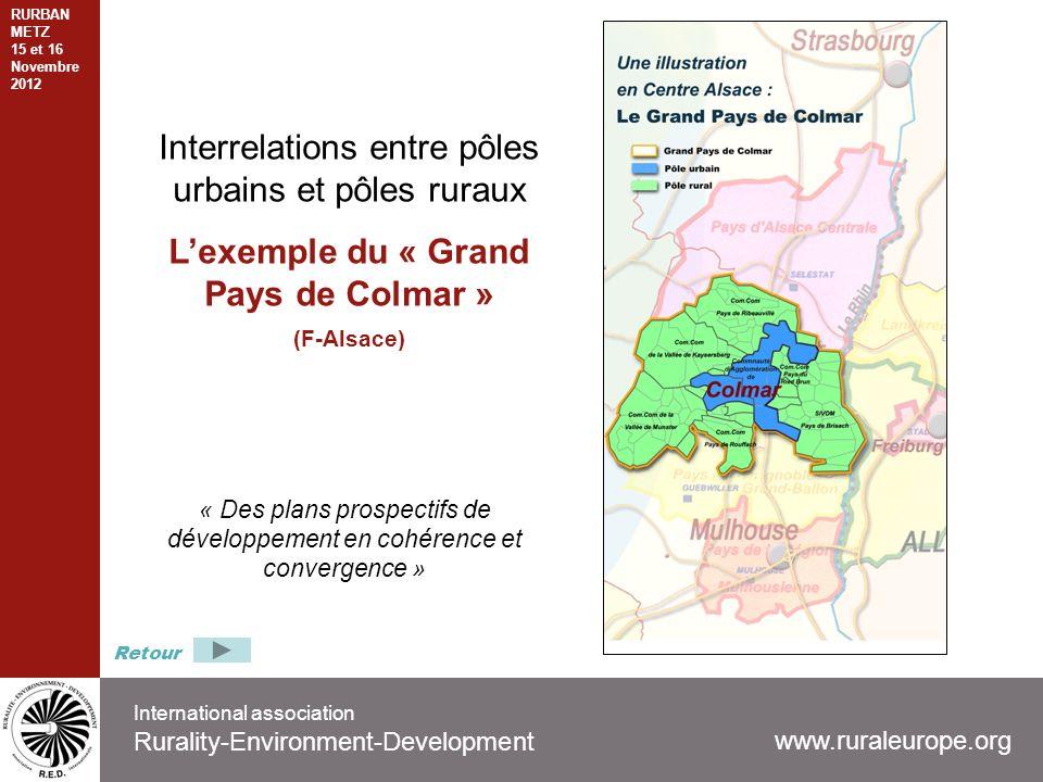 International association Rurality-Environment-Development www.ruraleurope.org Interrelations entre pôles urbains et pôles ruraux Lexemple du « Grand Pays de Colmar » (F-Alsace) « Des plans prospectifs de développement en cohérence et convergence » Retour RURBAN METZ 15 et 16 Novembre 2012