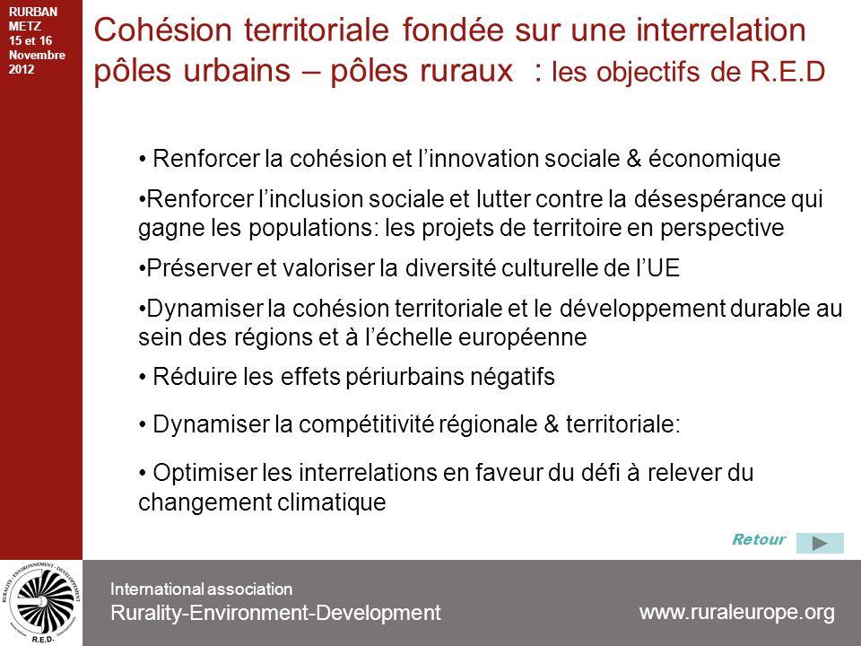 Cohésion territoriale fondée sur une interrelation pôles urbains – pôles ruraux : les objectifs de R.E.D International association Rurality-Environmen
