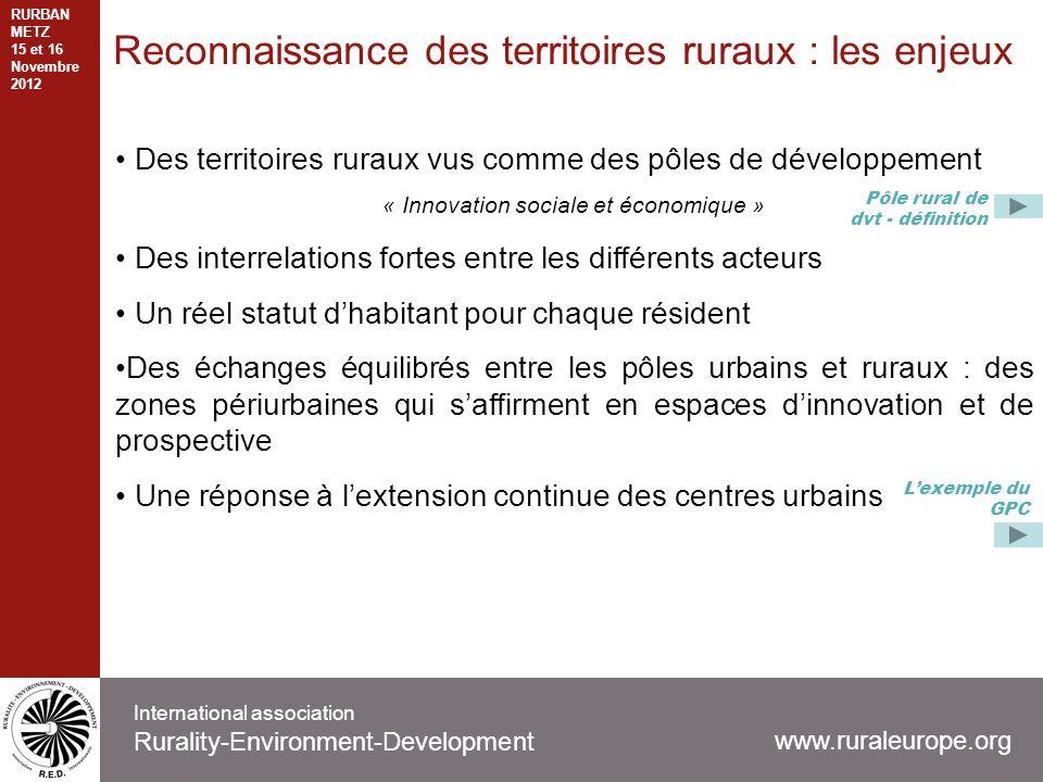 Reconnaissance des territoires ruraux : les enjeux Des territoires ruraux vus comme des pôles de développement « Innovation sociale et économique » De